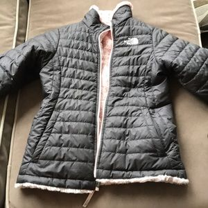 Girls North Face coat reversible.